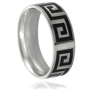 Vance Co. Stainless Steel Greek Key Band (8 mm)