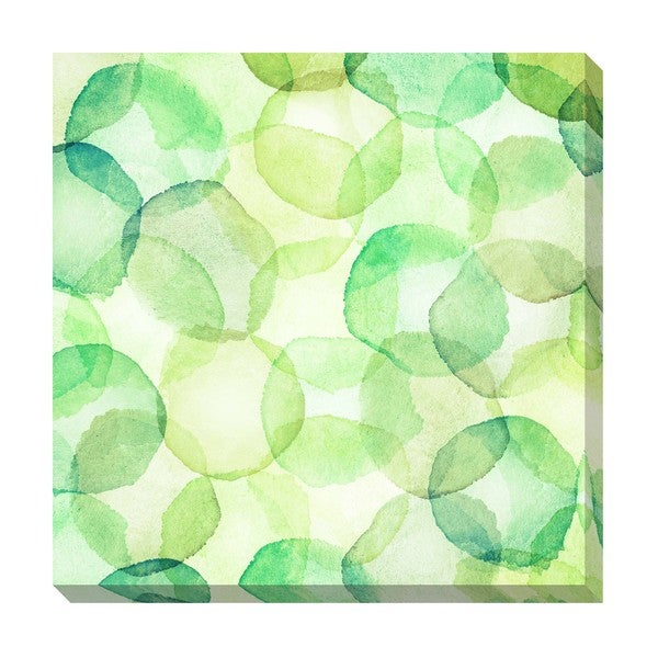 Green Watercolor Circles Oversized Gallery Wrapped Canvas