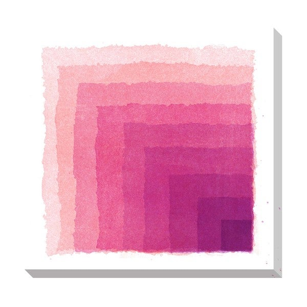 Chevron Watercolor Pink Oversized Gallery Wrapped Canvas