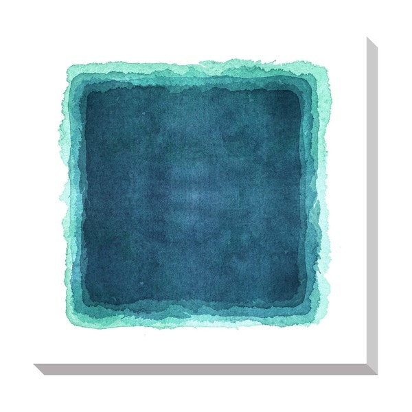 Abstract Teal Watercolor Oversized Gallery Wrapped Canvas