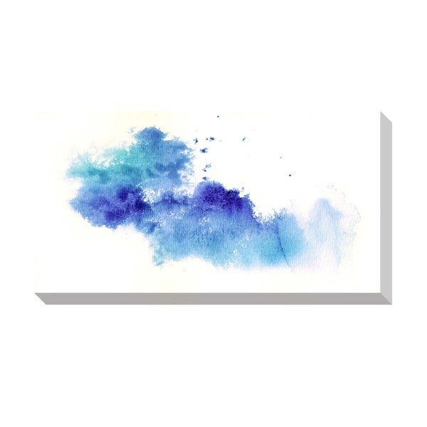 Abstract Blue Watercolor Oversized Gallery Wrapped Canvas Canvas