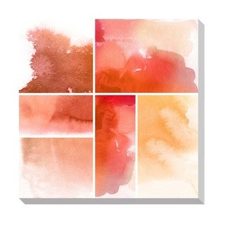 Red Watercolor Squares Oversized Gallery Wrapped Canvas
