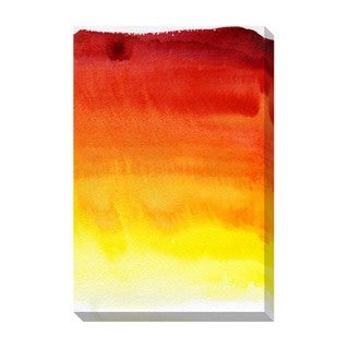Gallery Direct Red Yellow Gradient Watercolor Oversized Gallery Wrapped Canvas