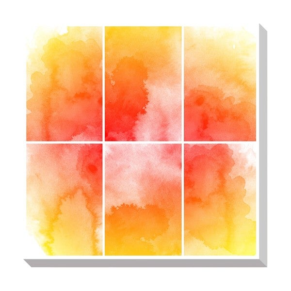 Orange Squares Watercolor Oversized Gallery Wrapped Canvas