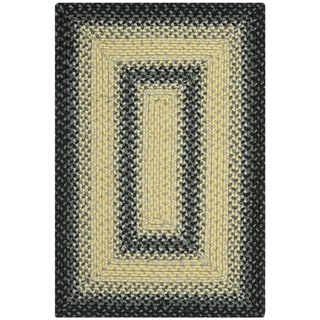 Safavieh Hand-woven Country Living Reversible Black/ Grey Braided Rug (2' x 3')