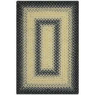 Hand-woven Country Living Reversible Black/ Grey Braided Rug (2'6 x 5')