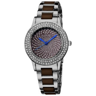 August Steiner Women's Crystal Glitz Ceramic Link Silver-Tone Bracelet Watch