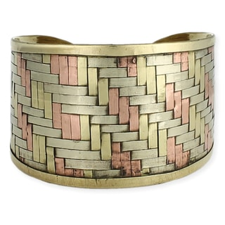 Handcrafted Wide Mixed Metals Woven Pattern Cuff Bracelet (India)