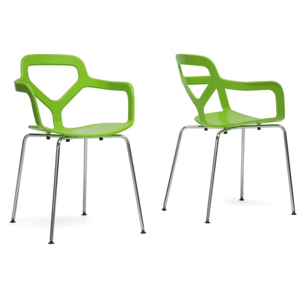 Miami Green Plastic Modern Dining Chairs (Set of 2)