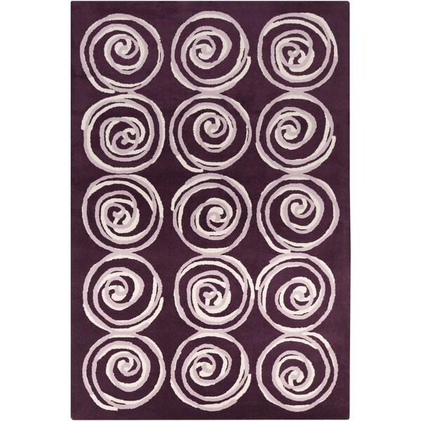 Handmade 'Allie' Purple Spirals Wool Rug (5' x 7'6)