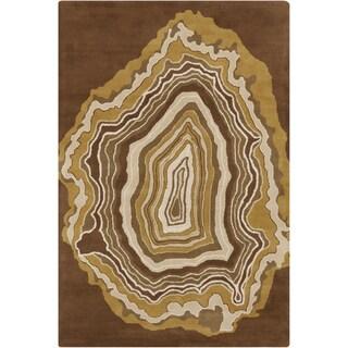 Handmade 'Allie' Abstract Brown Wool Rug (5' x 7'6)