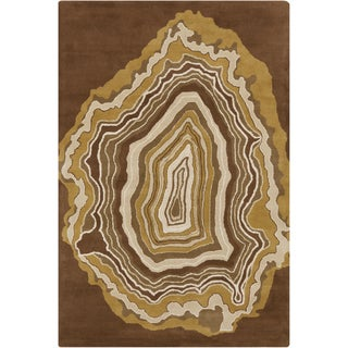 Handmade 'Allie' Abstract Brown Wool Rug (5' x 7'6)