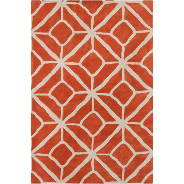 Handmade 'Allie' Geometric Orange/Cream Wool Rug (5' x 7'6)