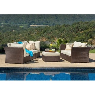 Oreanne 6-piece Sorrel Wicker Outdoor Furniture Set with Pillows