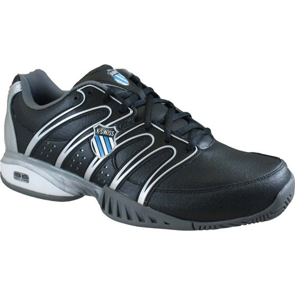 K-Swiss Men's 'Approach II' Black and Blue Tennis Shoes
