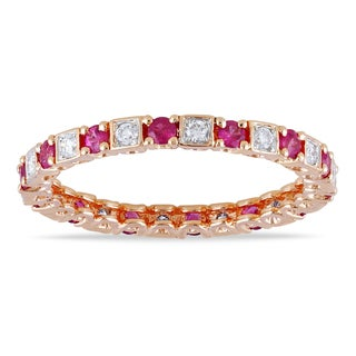 14k Gold 5/8ct TDW Pink and White Diamond Eternity Ring (G-H, SI1-SI2)
