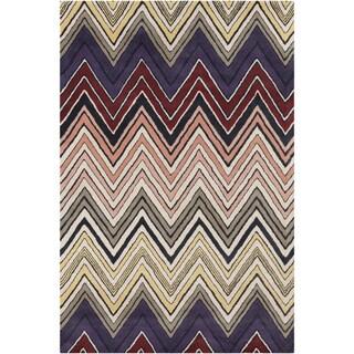 Handmade 'Allie' Tan Geometric Wool Rug (5' x 7'6)