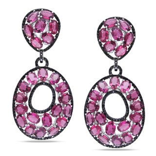 Miadora 14k Gold Pink Tourmaline and 3ct TDW Black Diamond Earrings