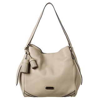 Burberry Small Beige Leather Saddlestitched Tote Bag