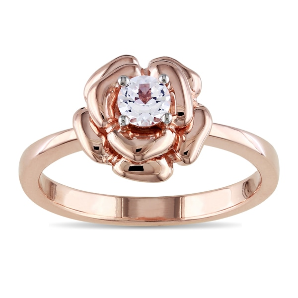 M by Miadora Rose-plated Silver Created White Sapphire Flower Ring