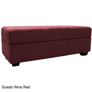 Vanderbilt Microfiber Tufted Padded Hinged Loveseat Storage Ottoman Bench