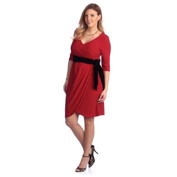 Kiyonna Women's Plus Size Red Harlow Wrap Dress