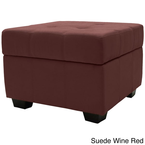 Vanderbilt Tufted Panel Stitched Padded Hinged 24-inch Square Storage Ottoman Bench