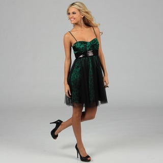 Onyx Nite Women&#39;s Black and Green Leopard Print Party Dress