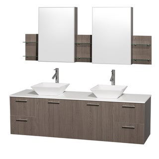 Wyndham Collection 'Amare' 72-inch Grey Oak/ White Top/ Carrera Marble Sink Vanity Set