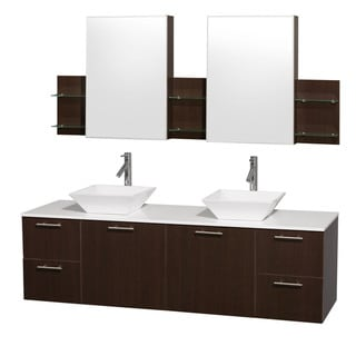 Wyndham Collection 'Amare' 72-inch Espresso/ White Top/ White Sink Vanity Set
