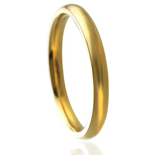 Journee Collection Goldtone Stainless Steel Wedding Band (3 mm)
