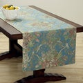 Extra Wide Italian Woven Blue/ Rose Table Runner 95 x 26 inches