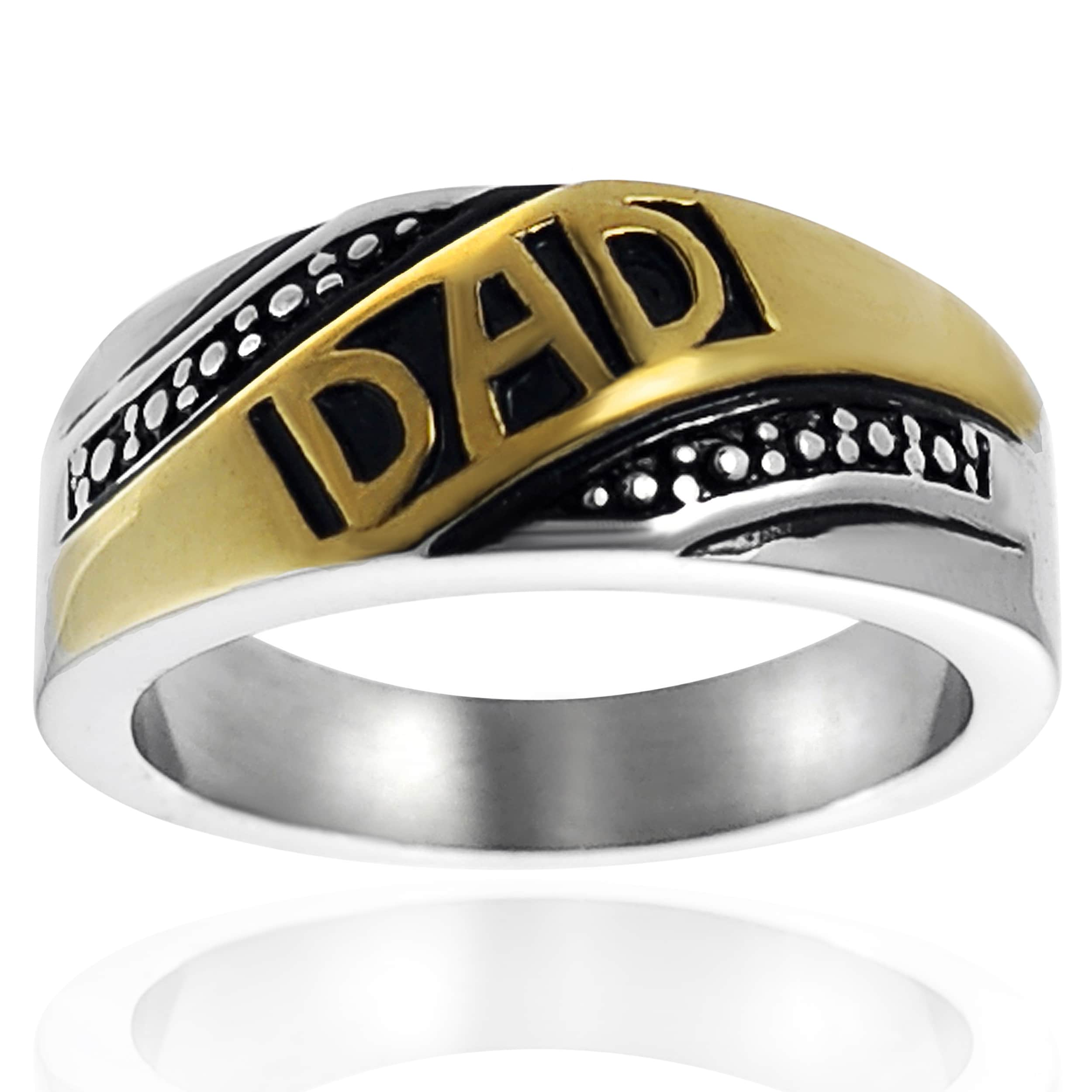 Vance Co. Men's Goldtone Stainless Steel Dad Ring