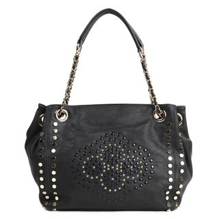 Nicole Lee 'Glen' Black Studded Shopper Bag