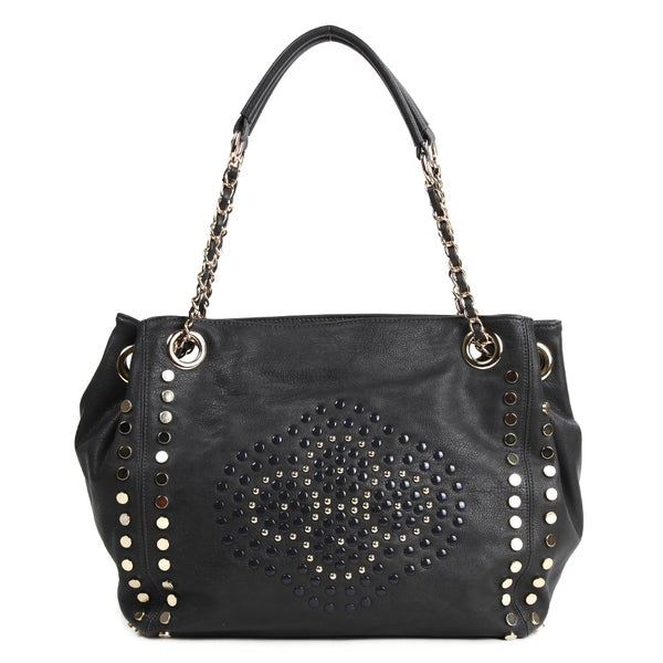 Nicole Lee 'Glen' Black Studded Shopper Bag