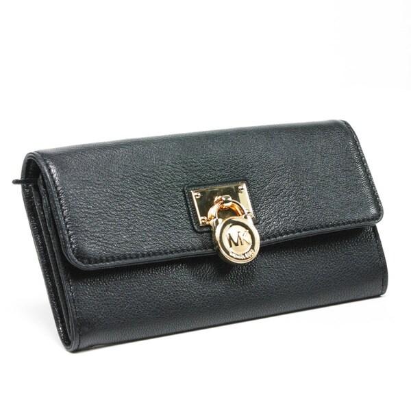 MICHAEL Michael Kors 'Hamilton' Large Black Leather Flap Wallet