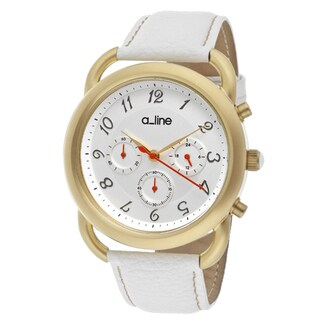 a_line Women's 'Maya' White Genuine Leather Watch