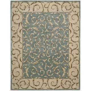 Nourison Hand-tufted Versailles Palace Aqua Green Rug (7'6 x 9'6)