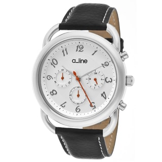 a_line Women's 'Maya' Black Genuine Leather Watch