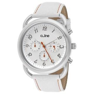 a_line Women's 'Maya' White Genuine Leather Watch