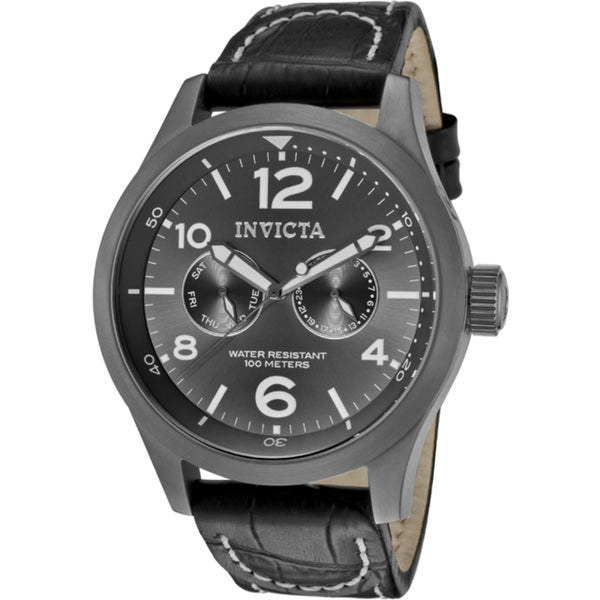 Invicta Men's 'Specialty' Black Genuine Calf Leather Watch