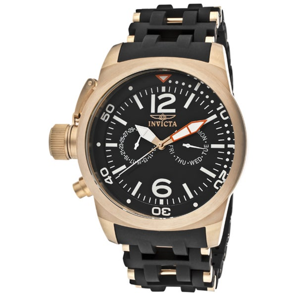 Invicta Men's 'Sea Spider' Black Rubber 18k Rose Goldplated Watch