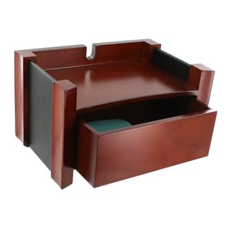 Rolodex Mahogany Wood and Black Faux Leather Wireless Hutch
