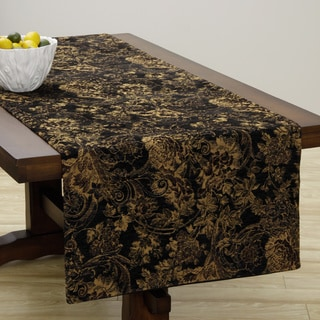 Extra Wide Italian Woven Black/ Beige Table Runner 95 x 26 inches