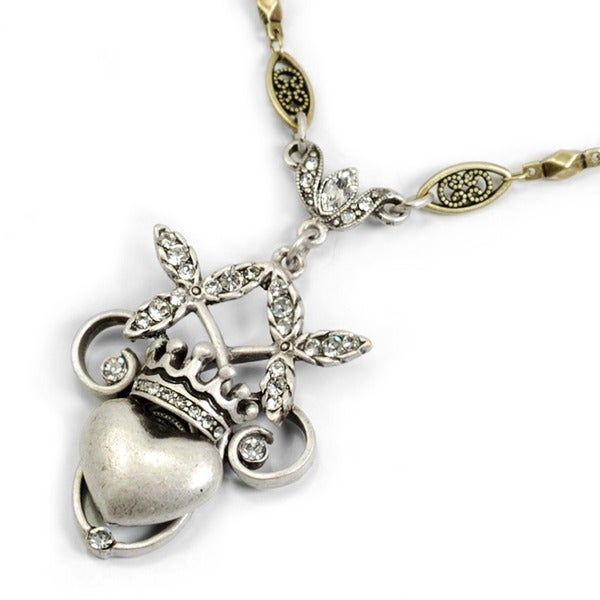 Sweet Romance Sacred Heart and Crown Necklace