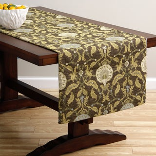 Extra Wide Italian Woven Brown Ornamental Table Runner 95 x 26 inches