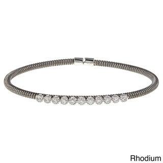 Sterling Silver Round Cubic Zirconia Station Cuff Bracelet