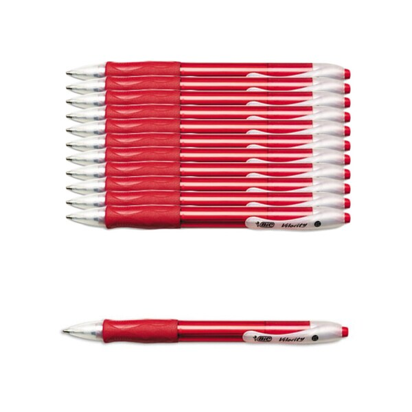 BIC Velocity Retractable 1.0 mm Red Ball Pens (Pack of 12)