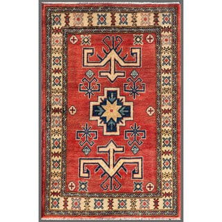 Afghan Hand-knotted Kazak Red/ Ivory Wool Rug (2'8 x 4'1)
