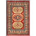 Afghan Hand-knotted Kazak Gold/ Red Wool Rug (2' x 3')